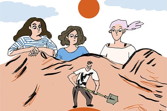 David graaft een gat in de woestijn