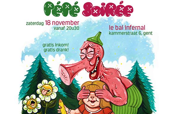 Dieter VDO tekent de affiche van de PéPé Soirée