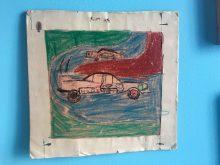Tekening op 8 jarige leeftijd (NSU Ro80 en Porsche Carrera) wasco op papier, 20x20cm